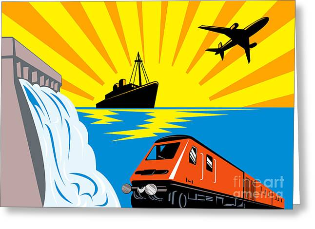 train boat plane and dam Greeting Card by Aloysius Patrimonio