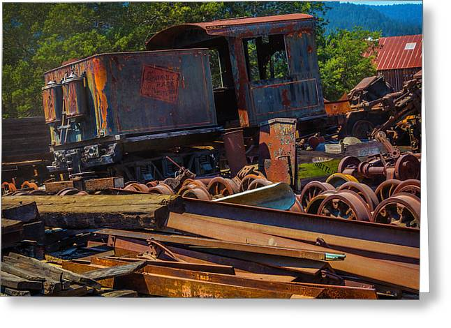 Train Bone Yard Greeting Card by Garry Gay