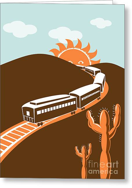 Desert Greeting Cards - Train desert cactus Greeting Card by Aloysius Patrimonio