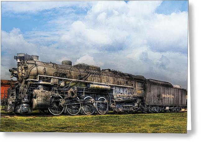 Steel. Grass Greeting Cards - Train - Engine - Nickel Plate Road Greeting Card by Mike Savad