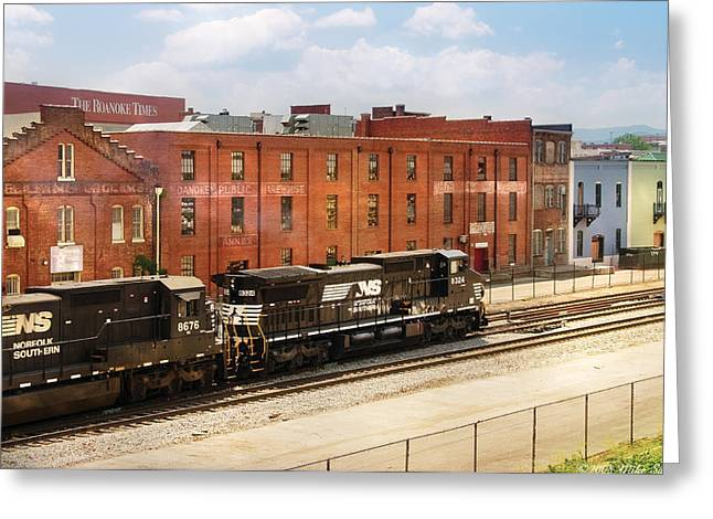 Roanoke Greeting Cards - Train - Engine -  Now Arriving in Roanoke Virginia Greeting Card by Mike Savad