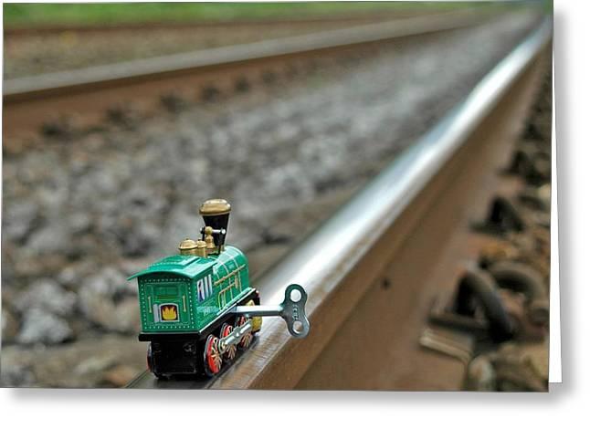 Train On Tracks Greeting Card by Bill Kellett
