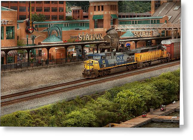 Csx Greeting Cards - Train - Pittsburg, PA - Station Square Greeting Card by Mike Savad