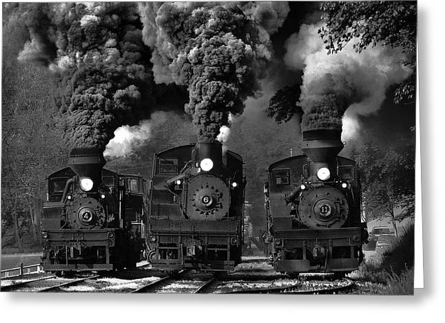 Railroads Photographs Greeting Cards - Train Race In Bw Greeting Card by Chuck Gordon