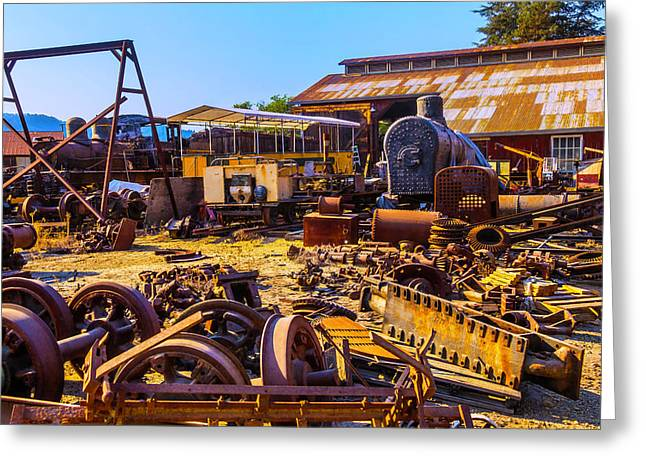 Train Scrap Yard Felton California Greeting Card by Garry Gay