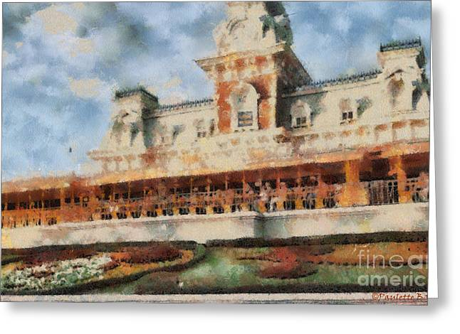 Best Sellers -  - Daughter Gift Greeting Cards - Train Station At Magic Kingdom Greeting Card by Paulette B Wright