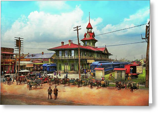 Train Station - Louisville And Nashville Railroad 1905 Greeting Card by Mike Savad