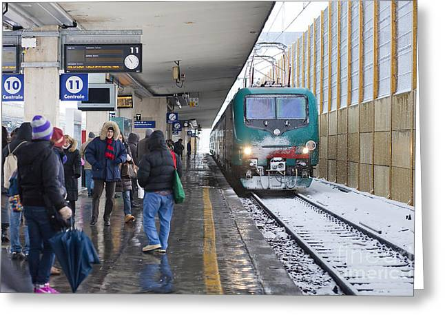 Police Art Greeting Cards - Train Station under the Snow Greeting Card by Andre Goncalves