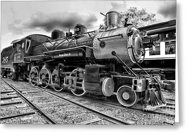 Watertower Greeting Cards - Train - Steam Engine Locomotive 385 in black and white Greeting Card by Paul Ward