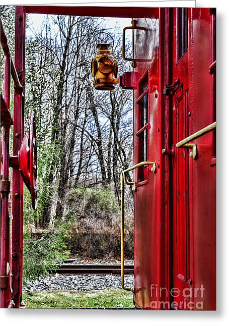 Train - The Red Caboose Greeting Card by Paul Ward