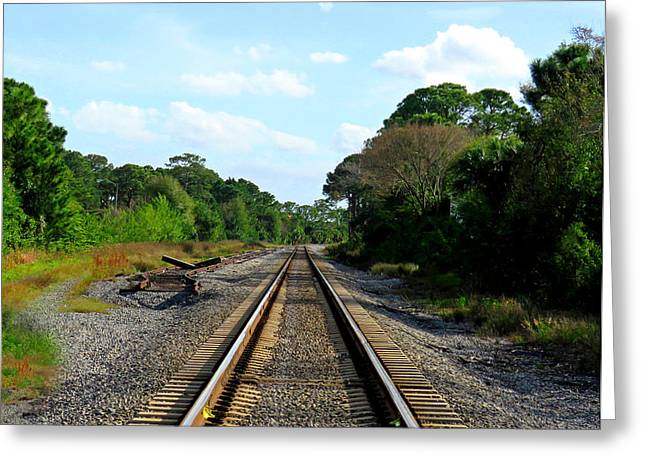 Mystical Landscape Greeting Cards - Train Track Invitation Greeting Card by Sabrina K Wheeler