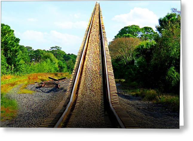 Mystical Landscape Greeting Cards - Train Track To Heaven Greeting Card by Sabrina K Wheeler