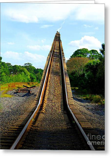 Mystical Landscape Greeting Cards - Train Track To Heaven Greeting Card by Sabrina Wheeler