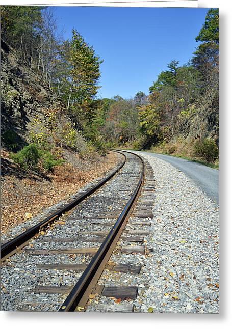 Western Tie Greeting Cards - Train Tracks Greeting Card by Brendan Reals