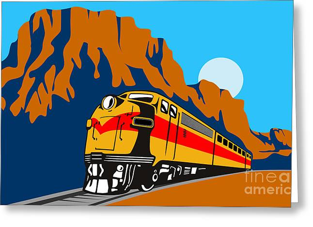 Train Traveling With Canyon Greeting Card by Aloysius Patrimonio