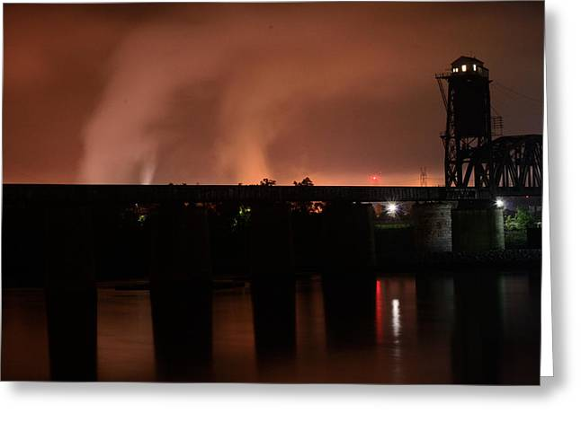 Industrial Background Greeting Cards - Train Trestle at Night Greeting Card by Frederick Walker