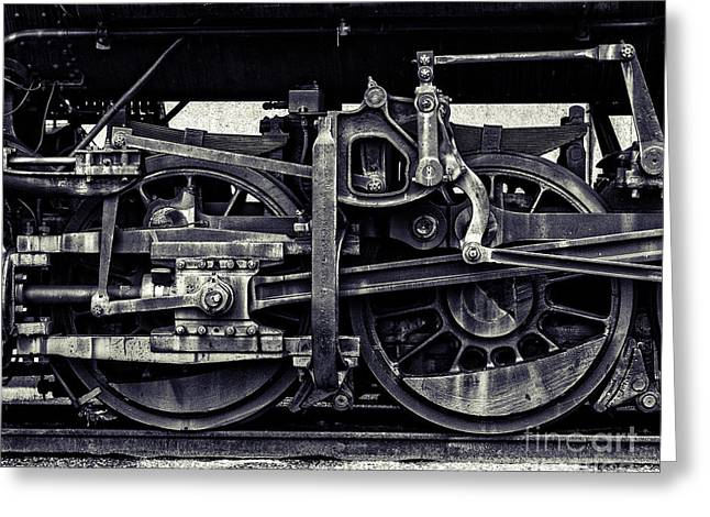 Midwestern Art Greeting Cards - Train Wheels Cropped Greeting Card by Emily Kay