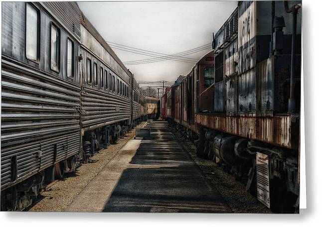 Rusted Cars Mixed Media Greeting Cards - Train Yards At Sunrise SC Greeting Card by Thomas Woolworth