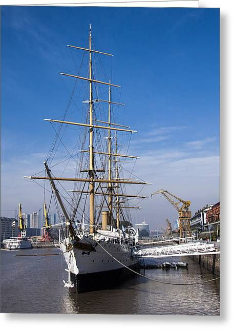 Historic Schooner Greeting Cards - Training Vessel on harbor Greeting Card by Hernan Caputo