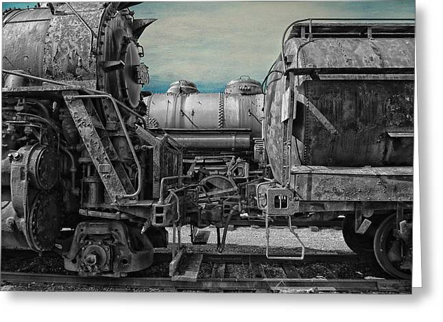 Rusted Cars Mixed Media Greeting Cards - Trains Ancient Iron SC Greeting Card by Thomas Woolworth