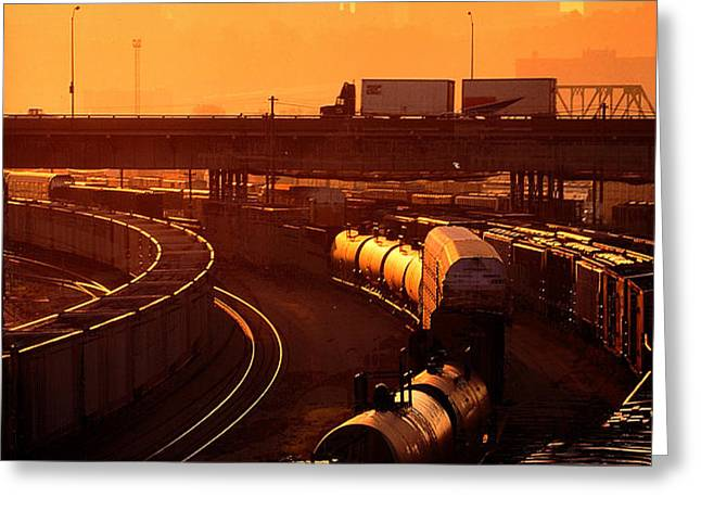 Trains at Sunrise Greeting Card by Don Wolf