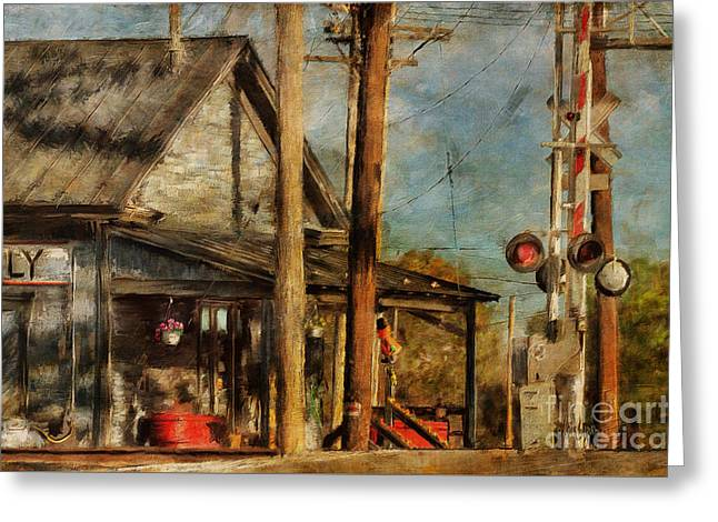 Train Crossing Greeting Cards - Trains Coming - Berryville Farm Supply Greeting Card by Lois Bryan