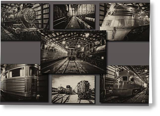 Rusted Cars Mixed Media Greeting Cards - Trains IRM Sepia Collage Greeting Card by Thomas Woolworth