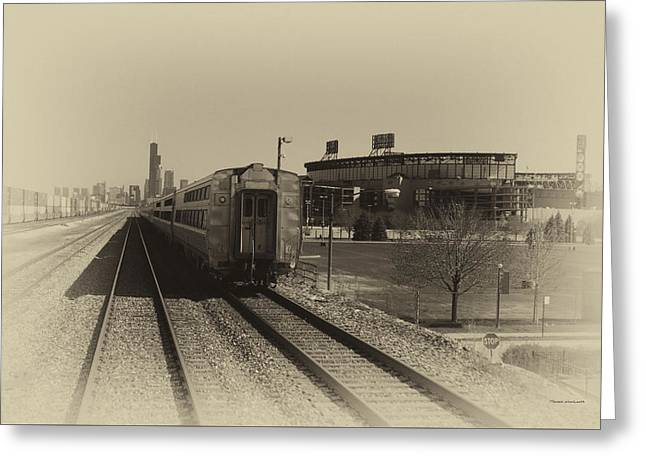 Baseball Art Greeting Cards - Trains Passing The Home Of The Chicago White Sox Heirloom Greeting Card by Thomas Woolworth