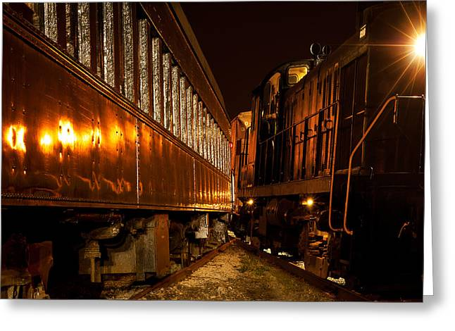 Night Lamp Greeting Cards - Trains too close Greeting Card by Kenneth Sponsler