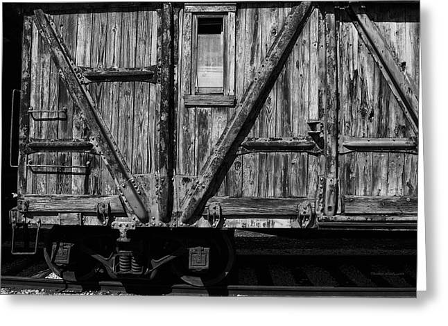 Wheel Thrown Mixed Media Greeting Cards - Trains Wooden Box Car Black And White Greeting Card by Thomas Woolworth