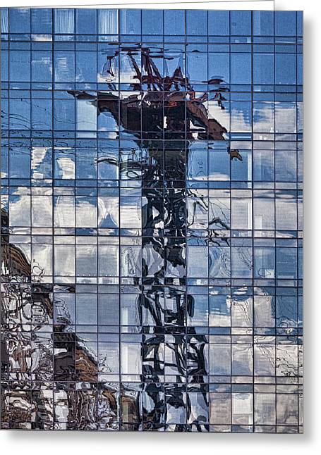 Refection Greeting Cards - Tram and 59 Street Bridge Reflected Greeting Card by Robert Ullmann