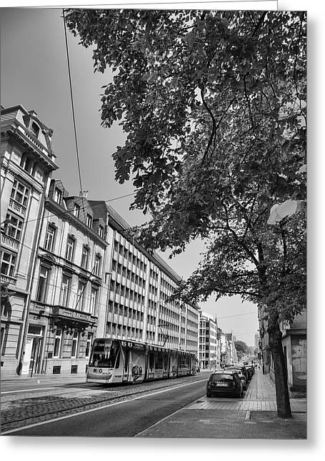 Artist Photographs Greeting Cards - Tram in Brussels Greeting Card by Georgia Fowler