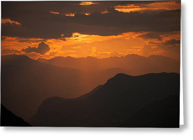 Photographers Pyrography Greeting Cards - Tramonto Dolomiti  Greeting Card by Veronica Saolini