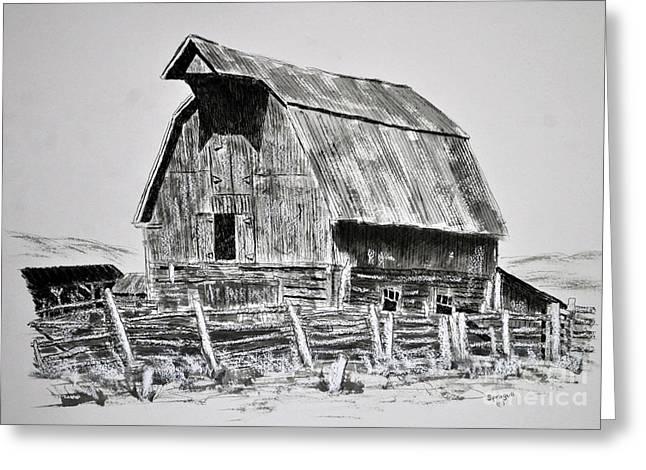 Old Barn Drawing Greeting Cards - Trampe Barn Greeting Card by Judy Sprague