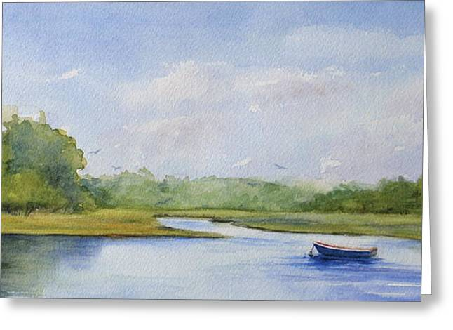 Canoe Paintings Greeting Cards - Tranquil Afternoon Greeting Card by Vikki Bouffard