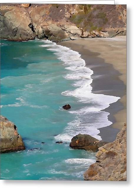 California Big Wave Surf Greeting Cards - Tranquil Big Sur Greeting Card by Art Block Collections