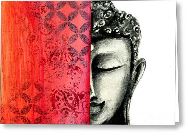 Tranquil Buddha - Charcoal And Ink Drawing Greeting Card by SnazzyHues