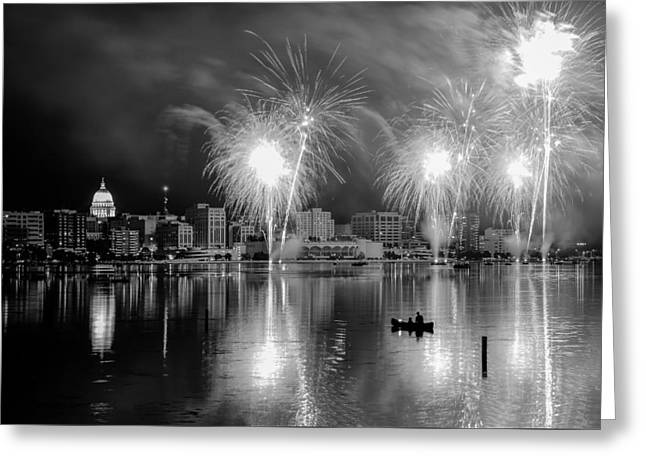 Lake Mendota Greeting Cards - Tranquil Firework Viewing in Madison Greeting Card by Gregory Payne