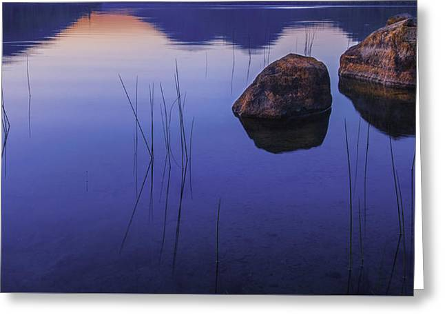 Reflection In Water Greeting Cards - Tranquil in Blue   Greeting Card by Thomas Schoeller