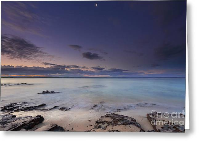 Moon Beach Greeting Cards - Tranquil moments at dusk on the beach in Jervis Bay Greeting Card by Leah-Anne Thompson