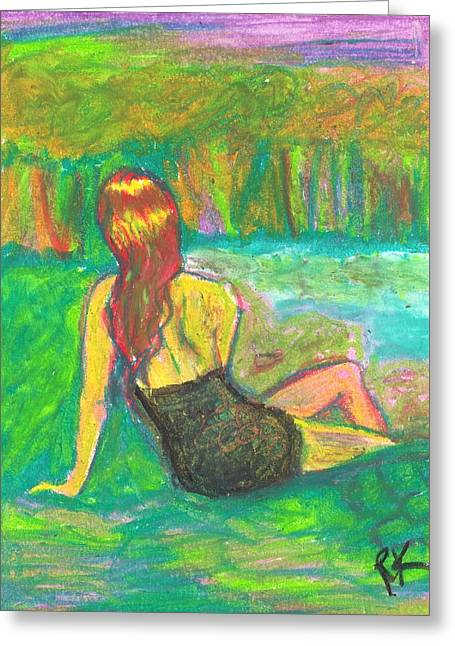 Female Body Greeting Cards - Tranquil Greeting Card by Renee Kilburn