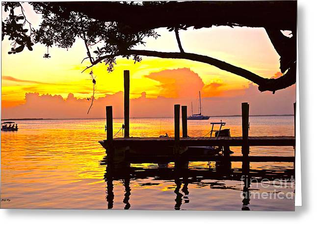 Keyes Greeting Cards - Tranquil Sunset 2 Greeting Card by Judy Kay