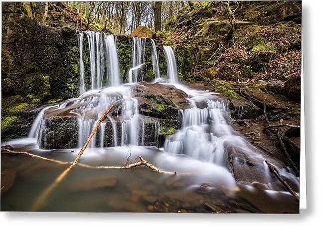 Flowing Greeting Cards - Tranquil Waterfall In The English Forest. Greeting Card by Daniel Kay