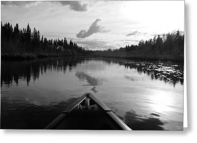 Canoe Greeting Cards - Tranquility  B W Greeting Card by Diannah Lynch