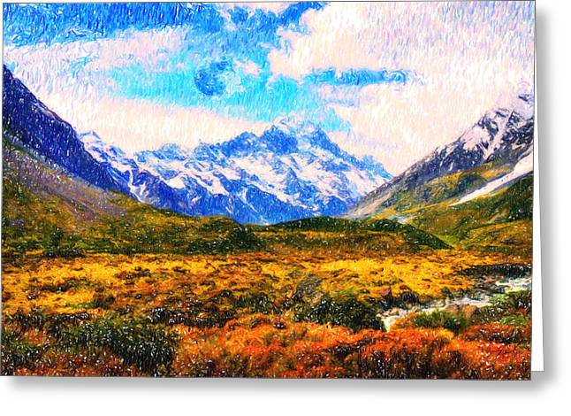Moral Paintings Greeting Cards - Tranquility in the highlands Greeting Card by Adam Asar