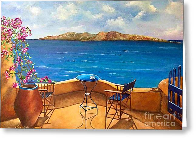Pallet Knife Greeting Cards - Tranquility Of Santorini Greeting Card by Viktoriya Sirris