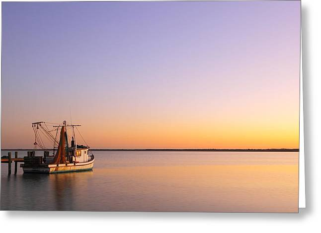 Recently Sold -  - Docked Boat Greeting Cards - Tranquility Trawler 2AM-109249 Greeting Card by Andrew McInnes