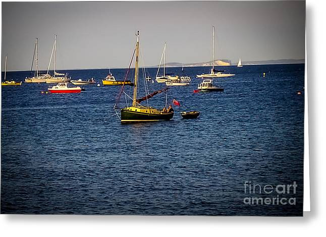 Yellow Sailboats Greeting Cards - Tranquillity  Greeting Card by F Helm