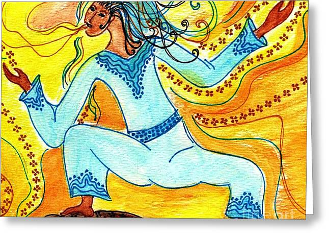 Breathing Mixed Media Greeting Cards - Trans Dance Greeting Card by Lisa Cioppettini
