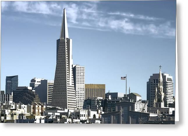 Downtown San Francisco Greeting Cards - Transamerica Pyramid - San Francisco Greeting Card by Daniel Hagerman